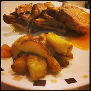 Pork plated up with roast potatoes