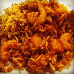 Plated up...prawn and potato biryani
