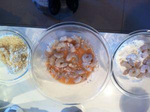 crumbing the prawns